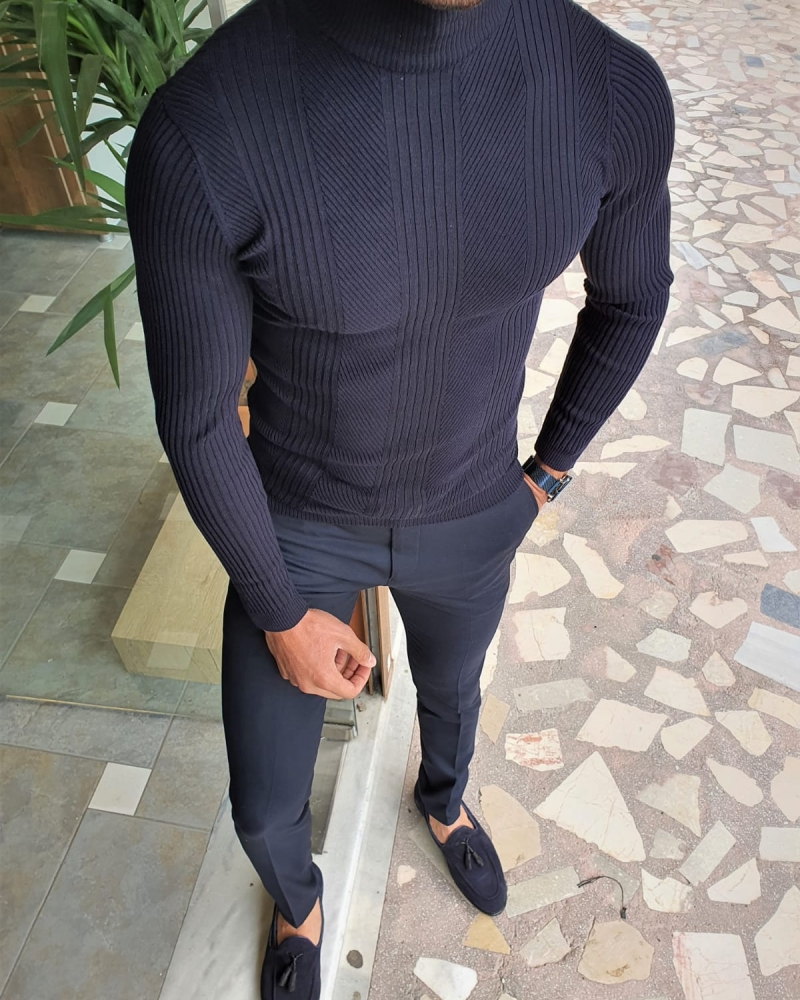 Navy Blue Slim Fit Striped Turtleneck Wool Sweater by GentWith.com with Free Worldwide Shipping