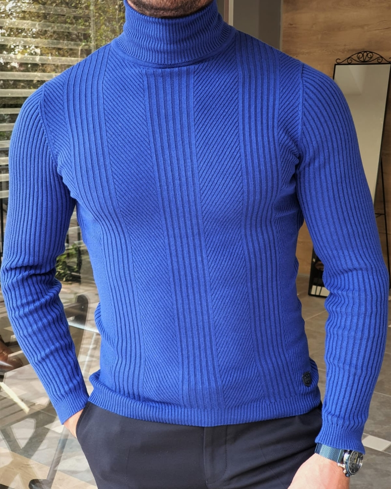 Sax Slim Fit Striped Turtleneck Wool Sweater by GentWith.com with Free Worldwide Shipping