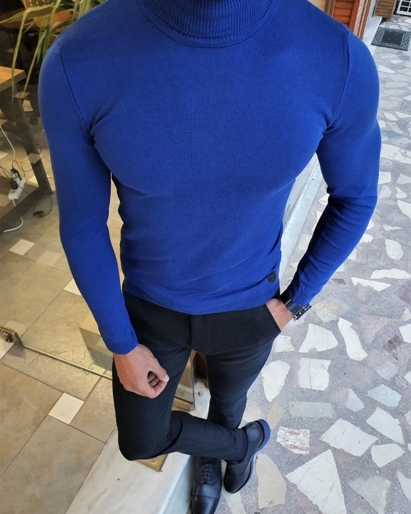 Sax Slim Fit Turtleneck Sweater by GentWith.com with Free Worldwide Shipping