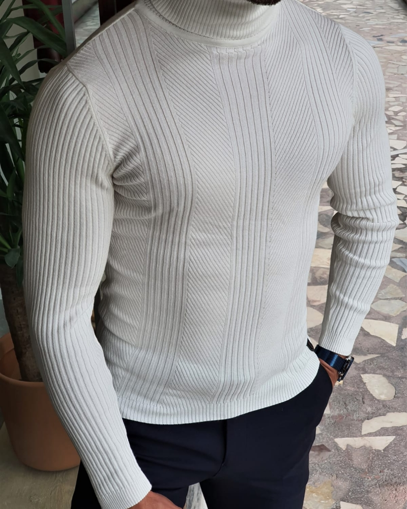 White Slim Fit Striped Turtleneck Wool Sweater by GentWith.com with Free Worldwide Shipping