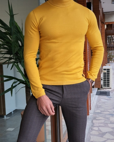 Yellow Slim Fit Turtleneck Wool Sweater by GentWith.com with Free Worldwide Shipping