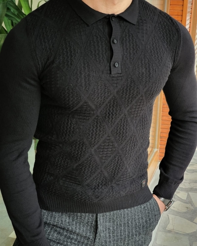 Black Slim Fit Collar Sweater by GentWith.com with Free Worldwide Shipping