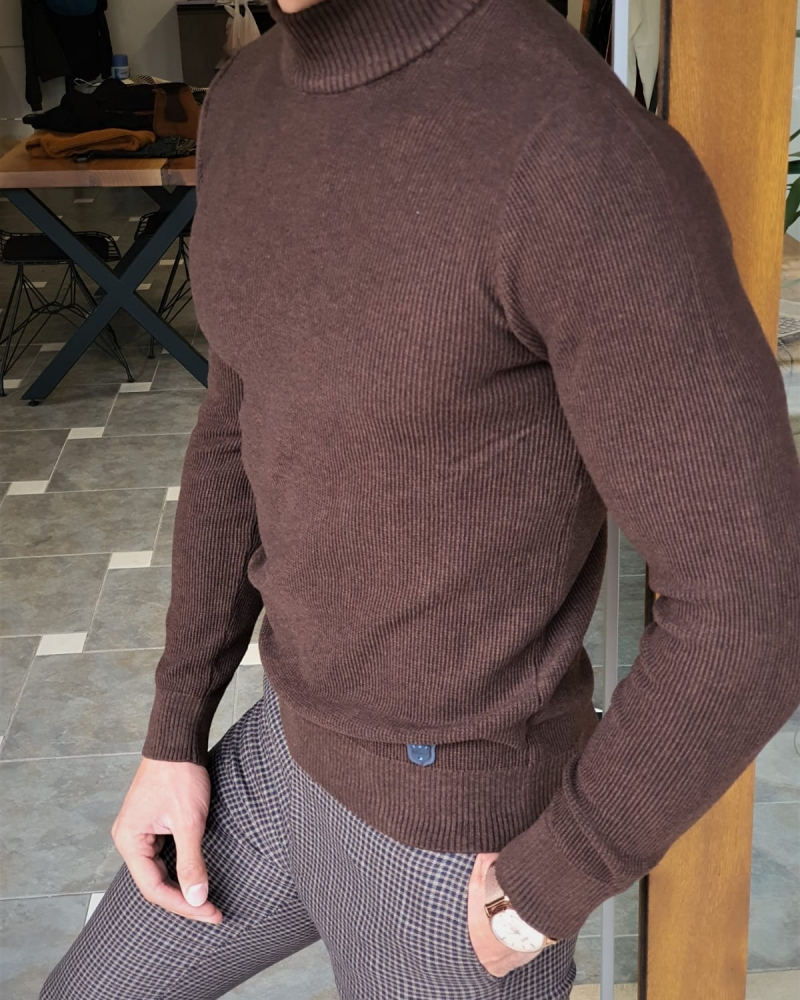 Brown Slim Fit Mock Turtleneck Sweater by GentWith.com with Free Worldwide Shipping