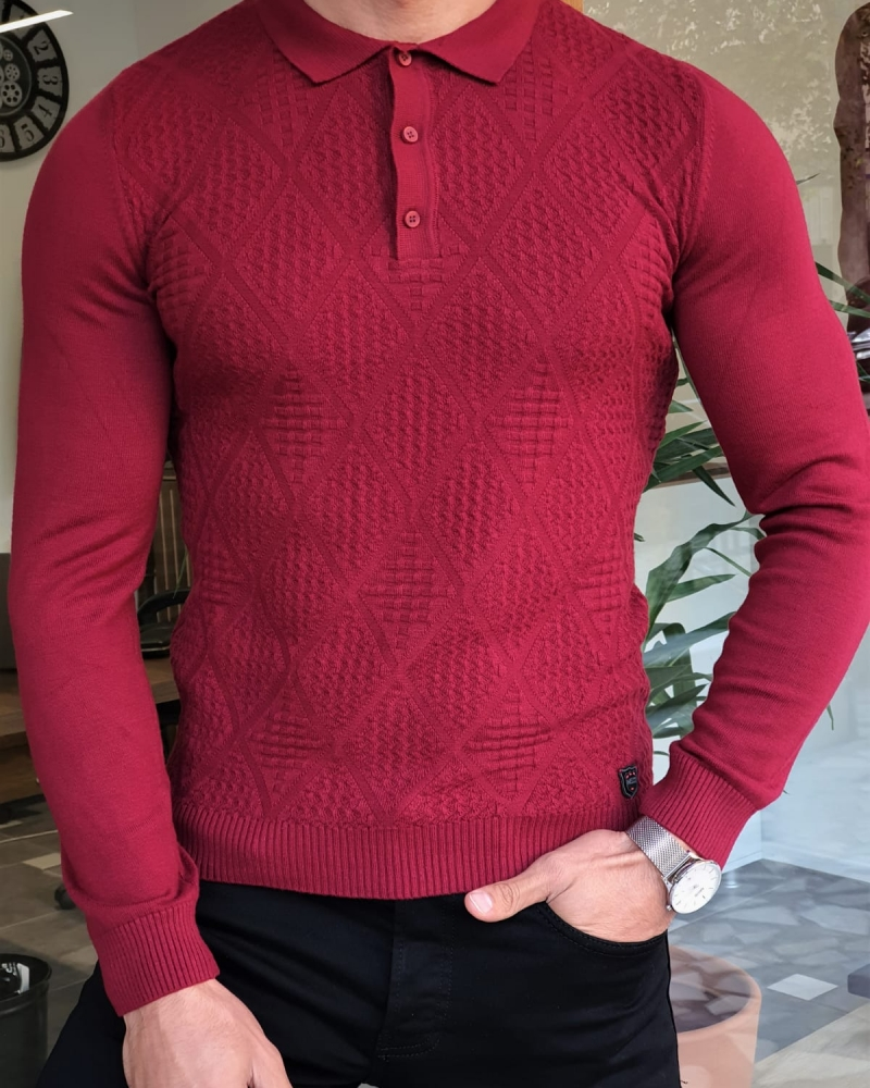 Claret Red Slim Fit Collar Sweater by GentWith.com with Free Worldwide Shipping