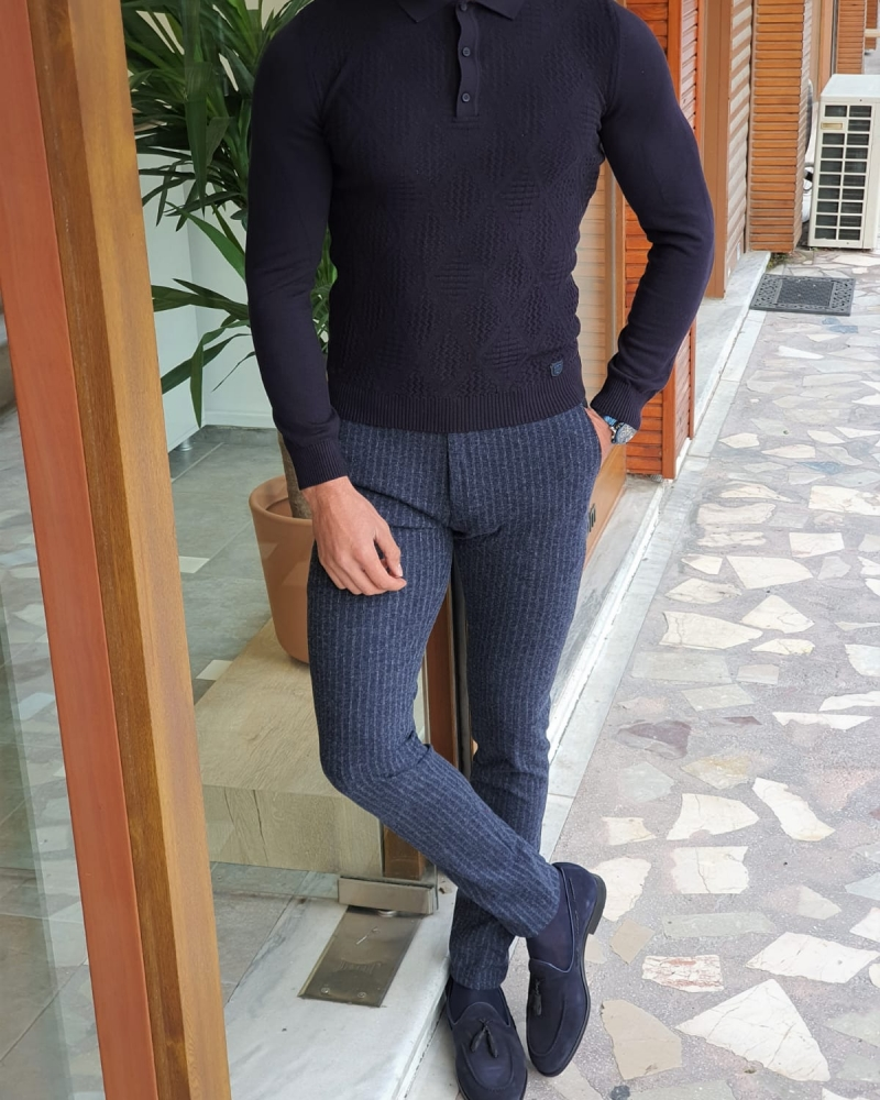 Navy Blue Slim Fit Collar Sweater by GentWith.com with Free Worldwide Shipping