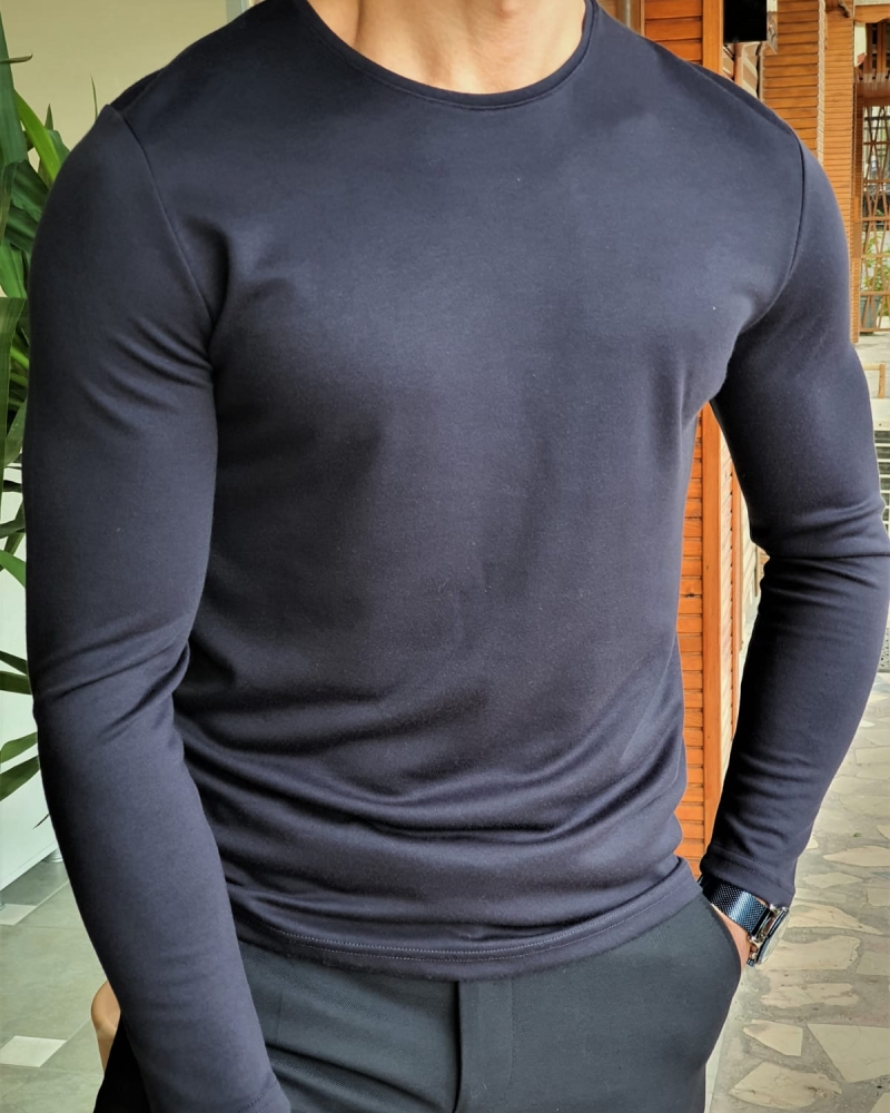 Navy Blue Slim Fit Round Neck Sweater by GentWith.com with Free Worldwide Shipping