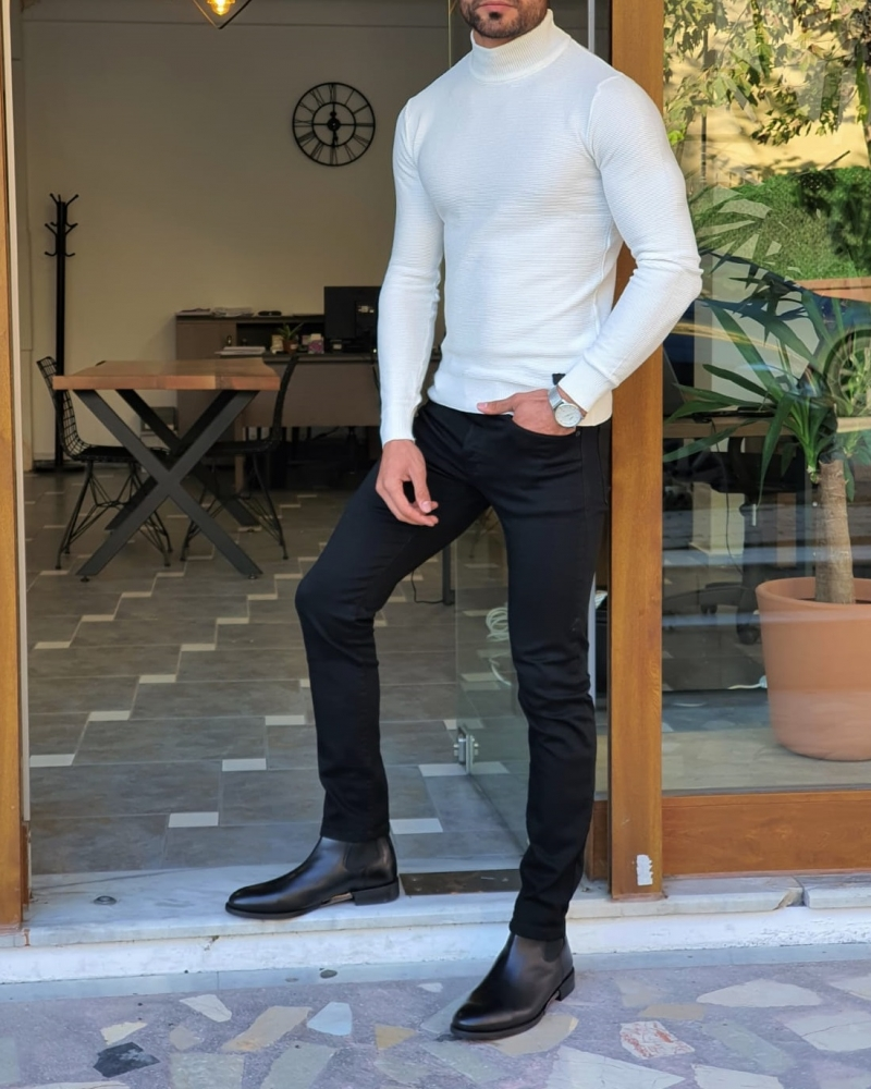 White Slim Fit Mock Turtleneck Sweater by GentWith.com with Free Worldwide Shipping