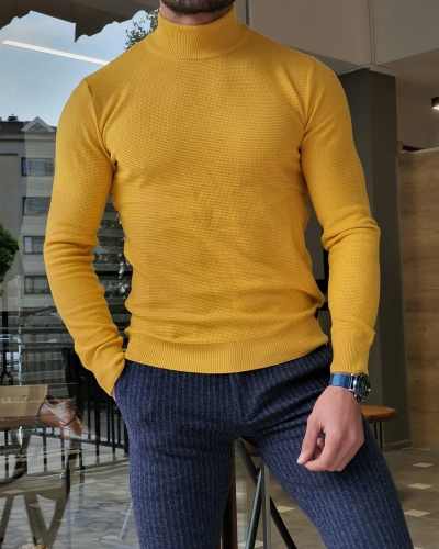 Yellow Slim Fit Mock Turtleneck Sweater by GentWith.com with Free Worldwide Shipping