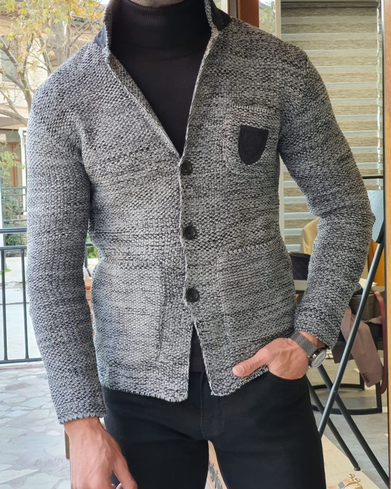 Black Slim Fit Knitwear Jacket by GentWith.com with Free Worldwide Shipping