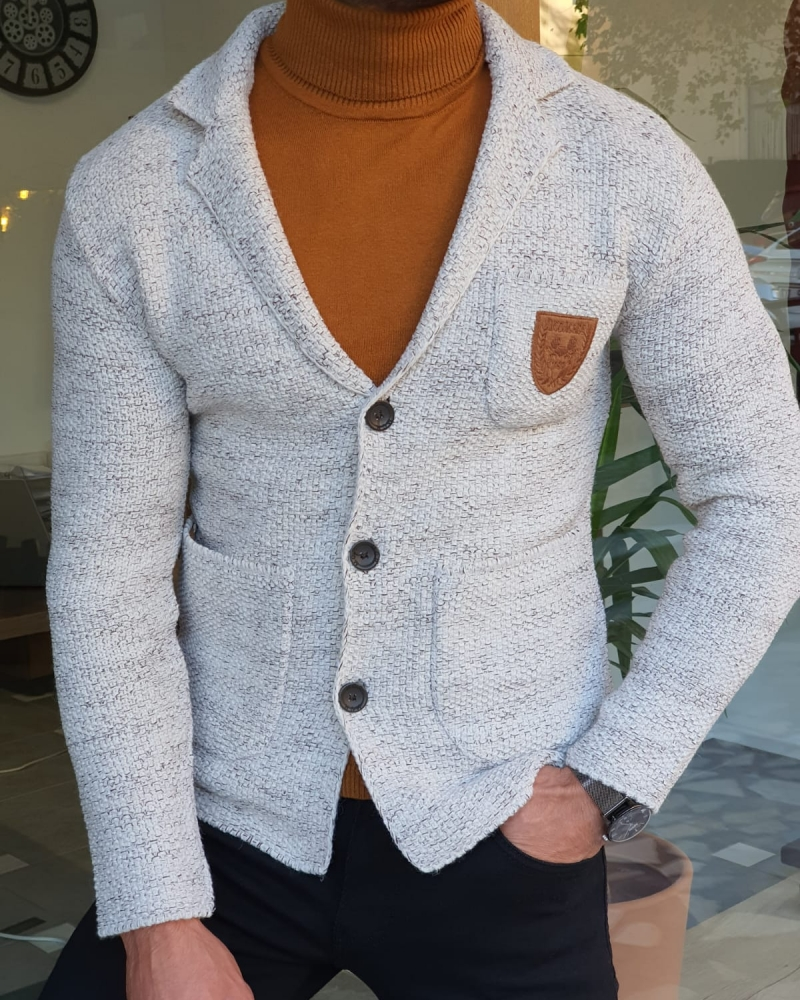 Gray Slim Fit Knitwear Jacket by GentWith.com with Free Worldwide Shipping