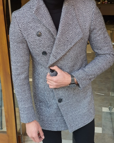Gray Slim Fit Wool Long Coat by GentWith.com with Free Worldwide Shipping