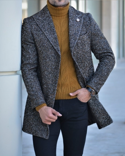 Brown Slim Fit Wool Long Coat by GentWith.com with Free Worldwide Shipping