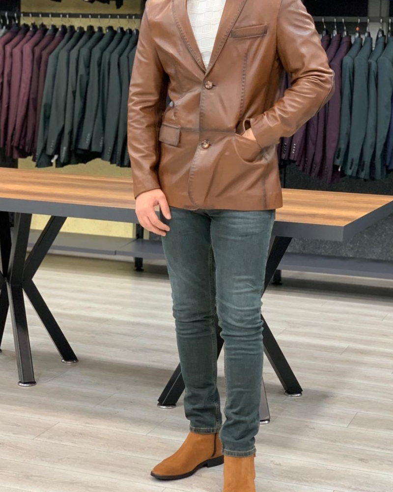 Brown Slim Fit Leather Jacket by GentWith.com with Free Worldwide Shipping