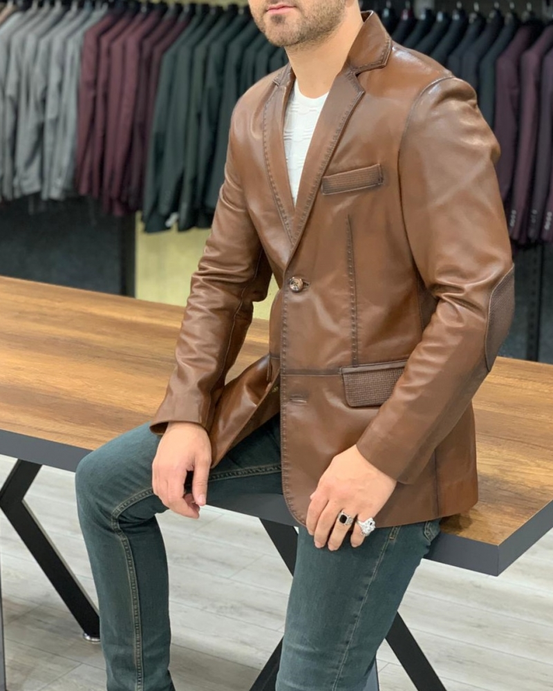 Brown Leather Jacket by GentWith.com with Free Worldwide Shipping