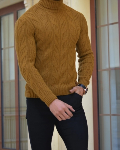 Camel Slim Fit Turtleneck Wool Sweater by GentWith.com with Free Worldwide Shipping