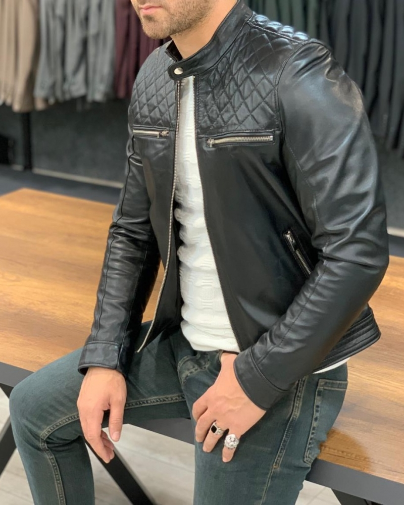 Black Slim Fit Leather Jacket by GentWith.com with Free Worldwide Shipping