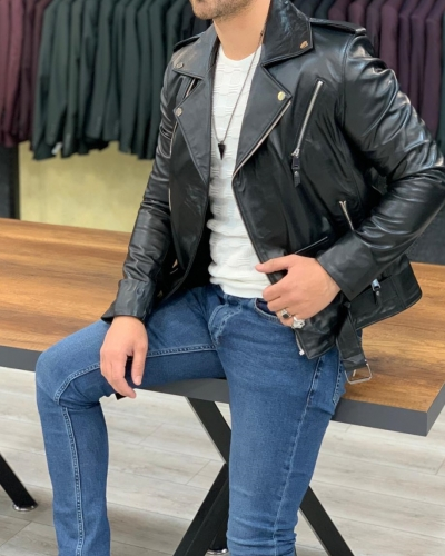 Black Slim Fit Zipper Leather Jacket by GentWith.com with Free Worldwide Shipping