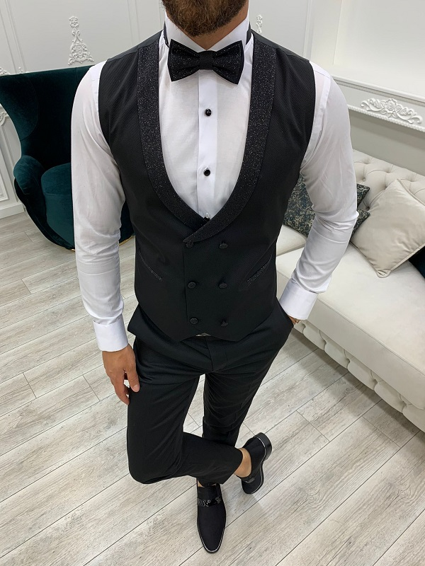 Black Shawl Lapel Tuxedo for Men by GentWith.com with Free Worldwide Shipping