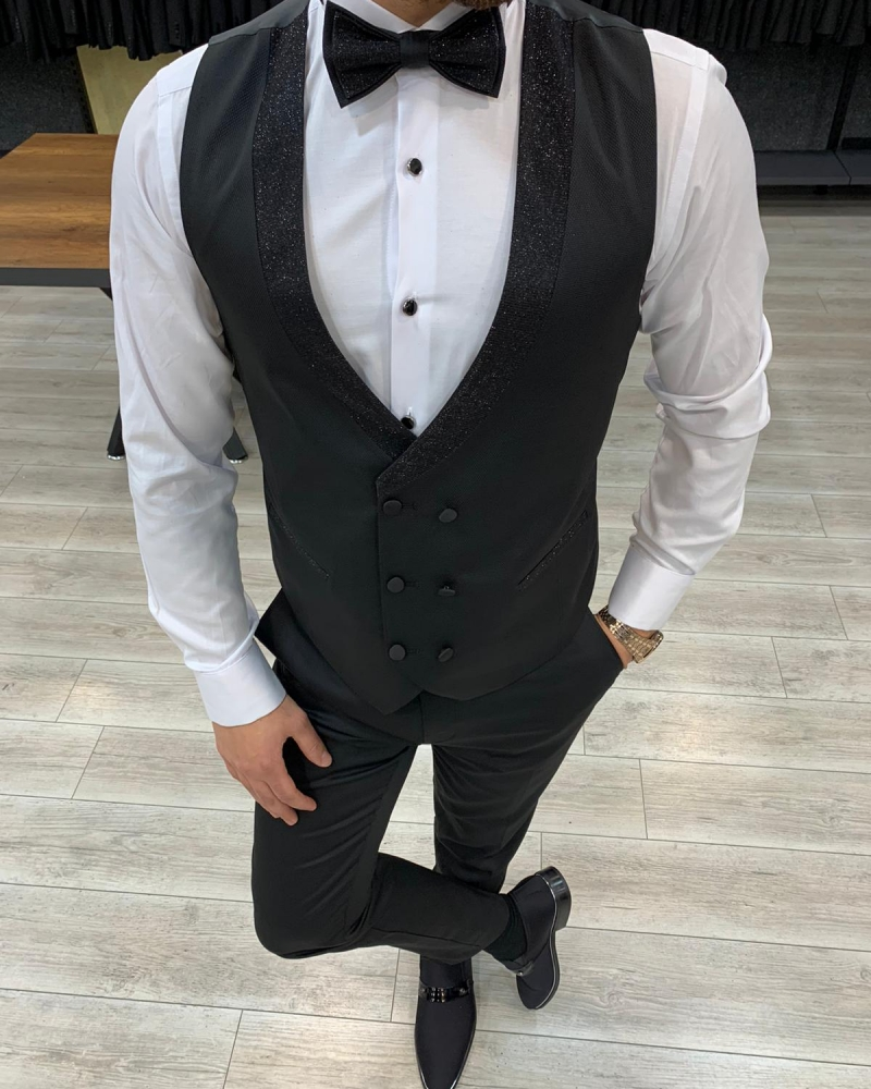 Black Slim Fit Button Shawl Lapel Tuxedo by GentWith.com with Free Worldwide Shipping