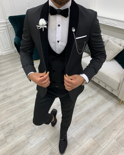 Black Velvet Shawl Lapel Tuxedo for Men by GentWith.com with Free Worldwide Shipping