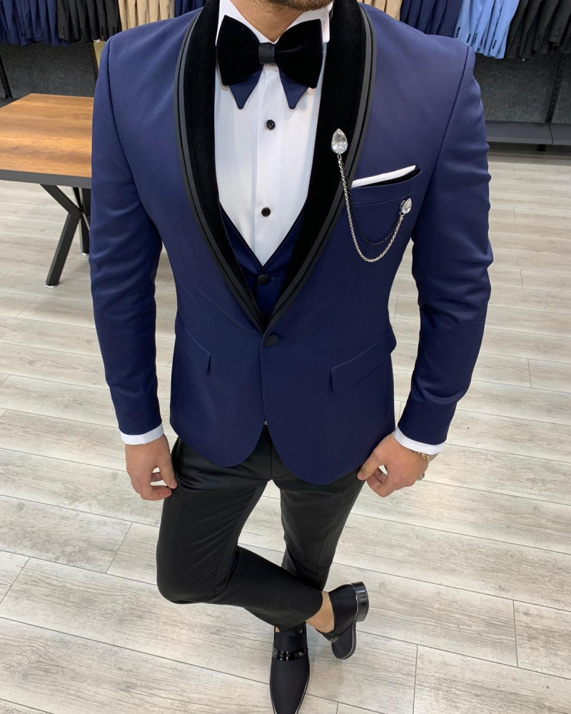 Navy Blue Slim Fit Velvet Shawl Lapel Tuxedo by GentWith.com with Free Worldwide Shipping