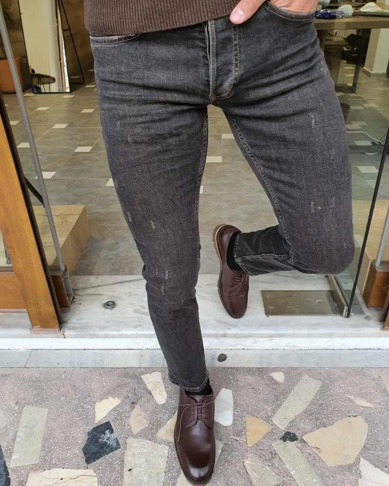 Black Slim Fit Striped Jeans by GentWith.com with Free Worldwide Shipping