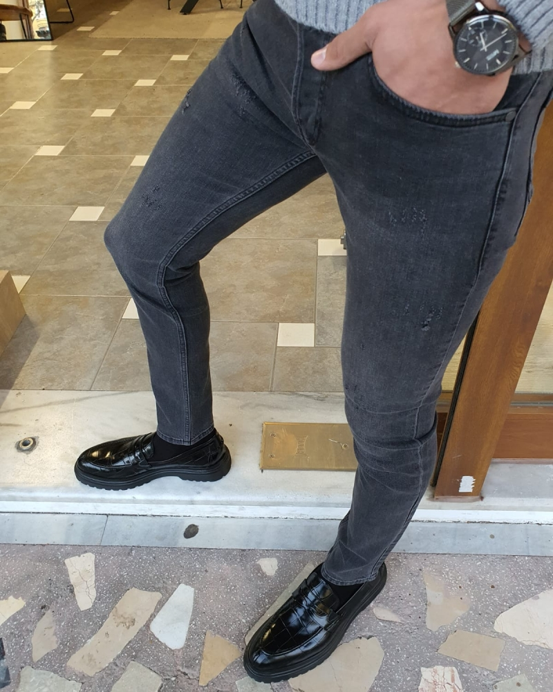 Gray Slim Fit Striped Jeans by GentWith.com with Free Worldwide Shipping