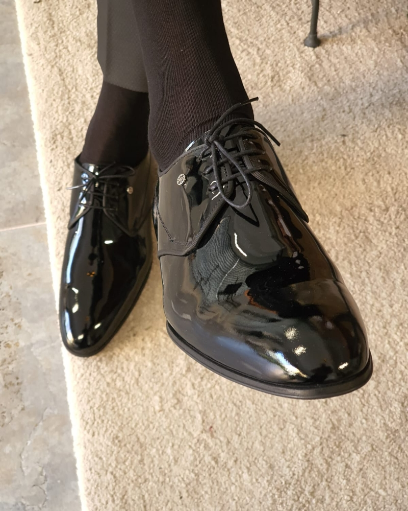 Black Patent Leather Oxfords by GentWith.com with Free Worldwide Shipping