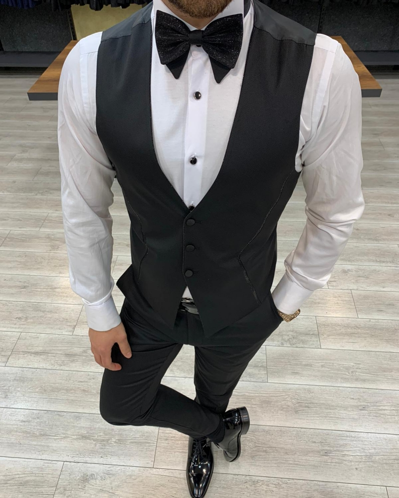 Black Slim Fit Peak Lapel Tuxedo by GentWith.com with Free Worldwide Shipping