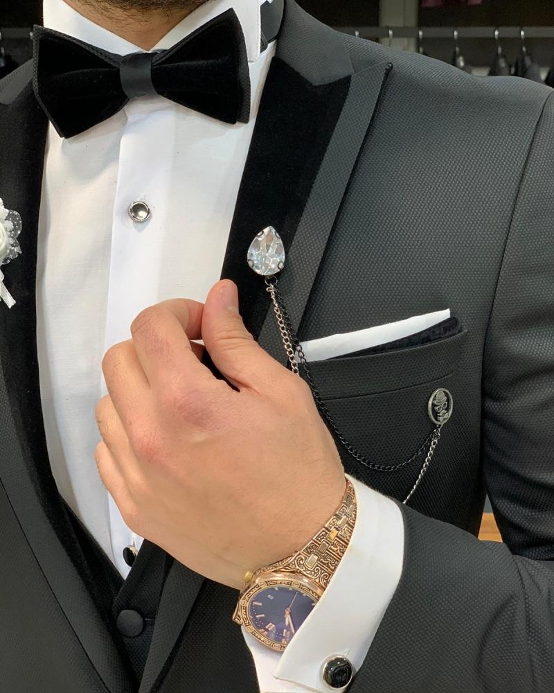 Black Slim Fit Velvet Peak Lapel Tuxedo by GentWith.com with Free Worldwide Shipping