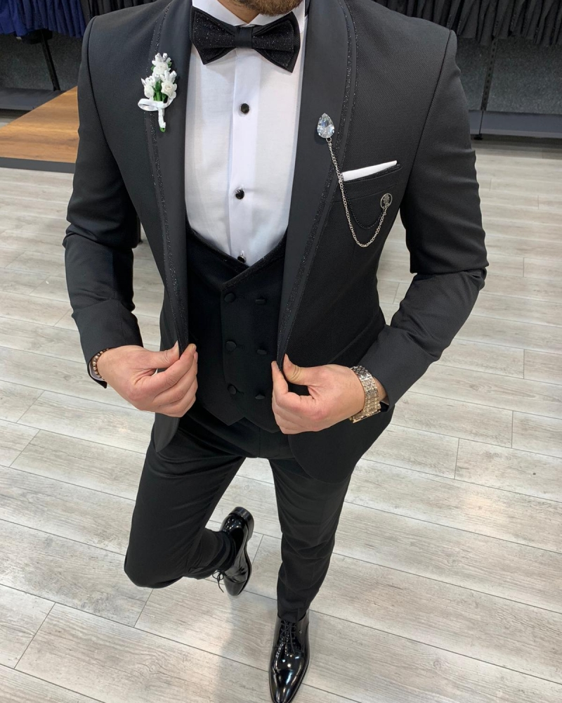 Black Slim Fit Shawl Lapel Tuxedo by GentWith.com with Free Worldwide Shipping
