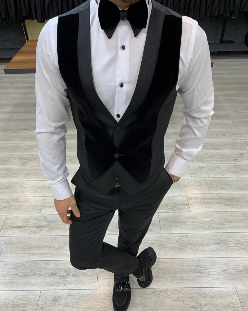 Black Slim Fit Velvet Peak Lapel Tuxedo by GentWith.com with Free Worldwide Shipping