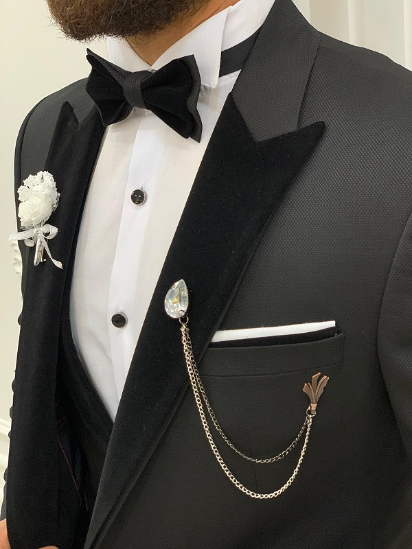 Black Velvet Peak Lapel Tuxedo for Men by GentWith.com with Free Worldwide Shipping