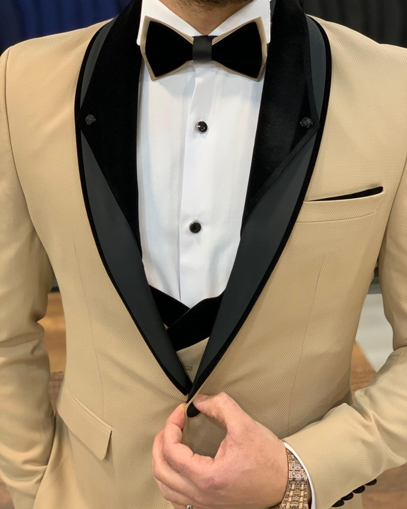 Gold Slim Fit Shawl Lapel Tuxedo by GentWith.com with Free Worldwide Shipping