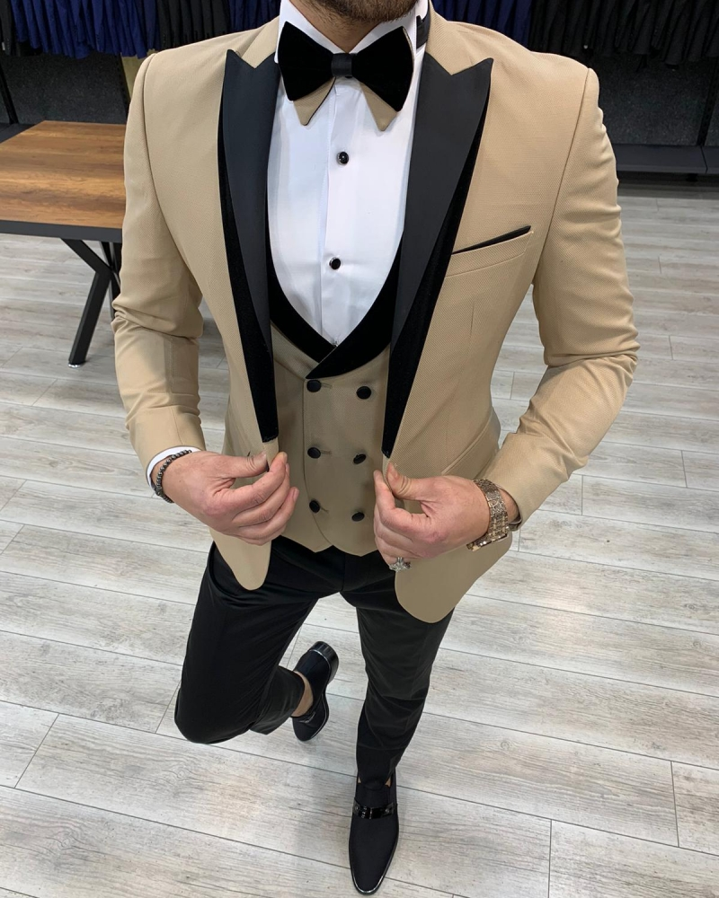 Gold Slim Fit Velvet Peak Lapel Tuxedo by GentWith.com with Free Worldwide Shipping