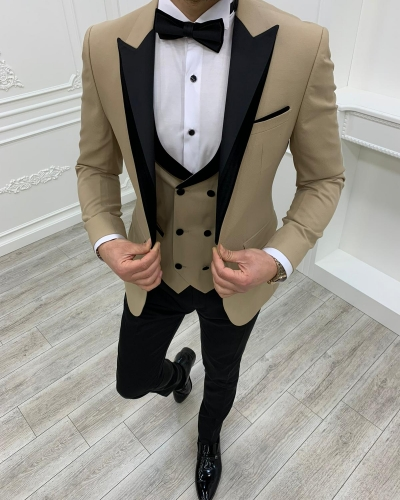 Gold Slim Fit Velvet Peak Lapel Tuxedos by GentWith.com with Free Worldwide Shipping