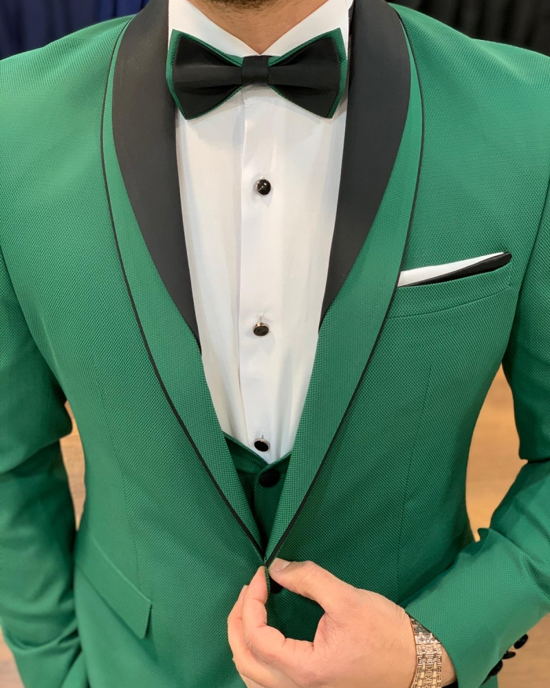 Green Slim Fit Shawl Lapel Tuxedo by GentWith.com with Free Worldwide Shipping