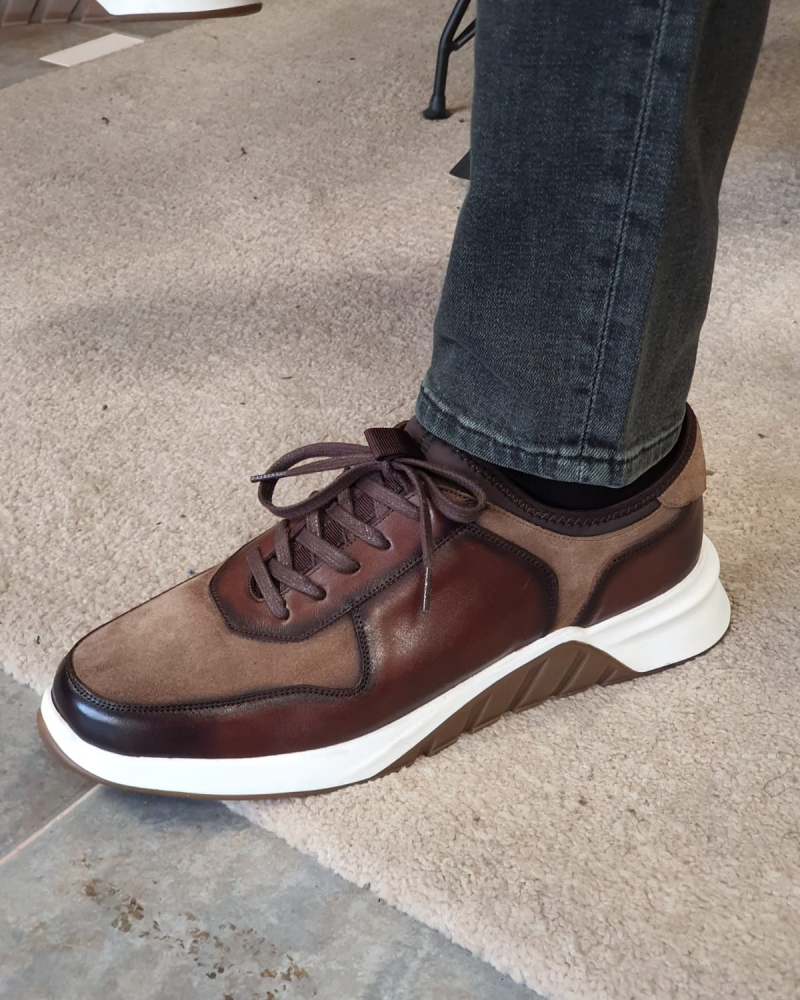 Brown Low Top Sneakers by GentWith.com with Free Worldwide Shipping