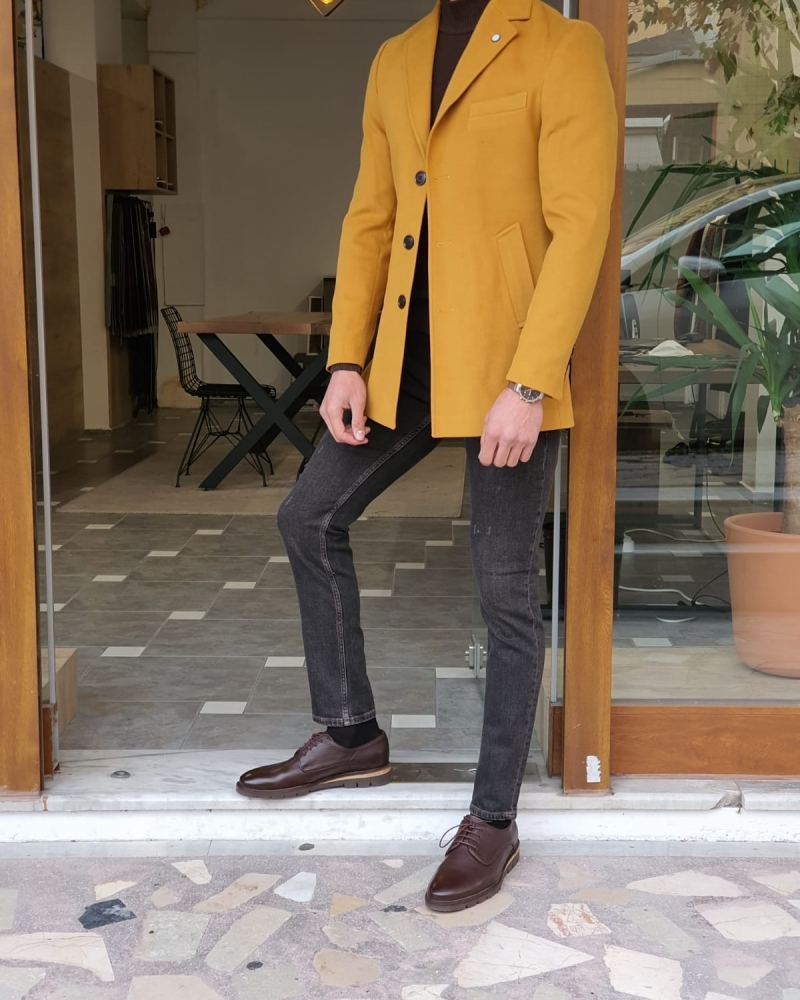 Yellow Slim Fit Wool Long Coat by GentWith.com with Free Worldwide Shipping