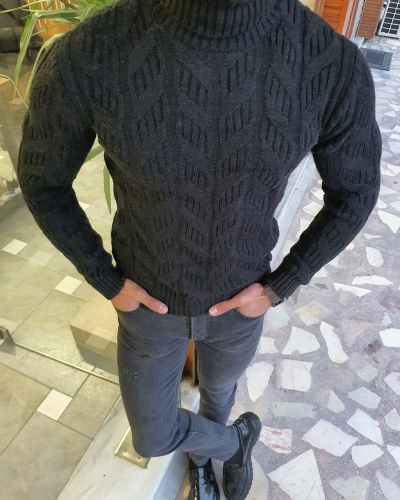 Black Slim Fit Turtleneck Wool Sweater by GentWith.com with Free Worldwide Shipping