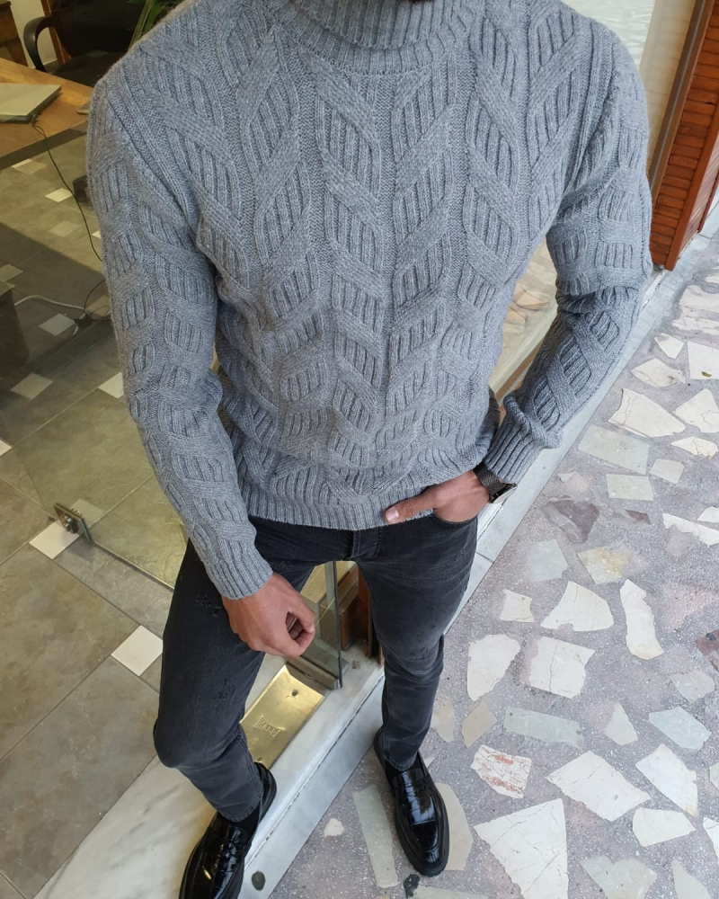 Gray Slim Fit Turtleneck Wool Sweater by GentWith.com with Free Worldwide Shipping
