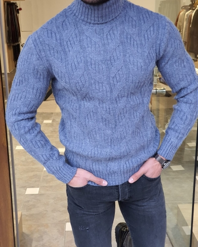 Indigo Slim Fit Turtleneck Wool Sweater by GentWith.com with Free Worldwide Shipping