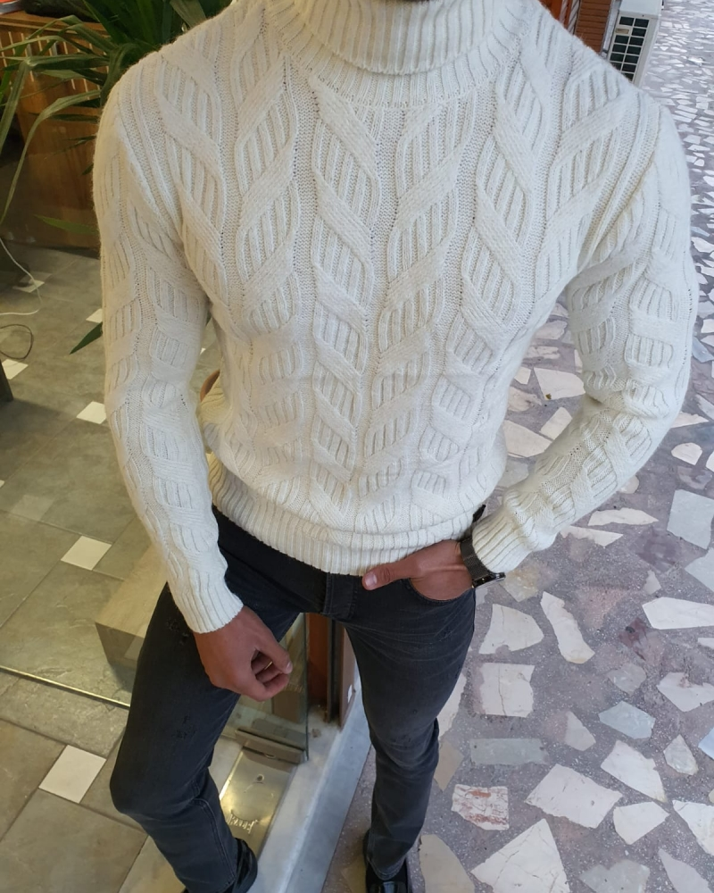White Slim Fit Turtleneck Wool Sweater by GentWith.com with Free Worldwide Shipping