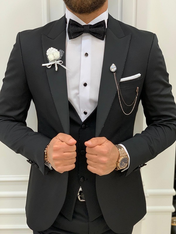 Black Peak Lapel Tuxedo for Men by GentWith.com with Free Worldwide Shipping