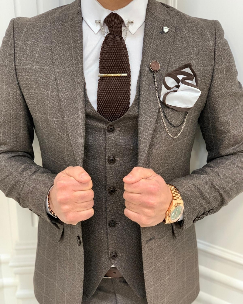 Coffee Brown Slim Fit Plaid Suit by GentWith.com with Free Worldwide Shipping