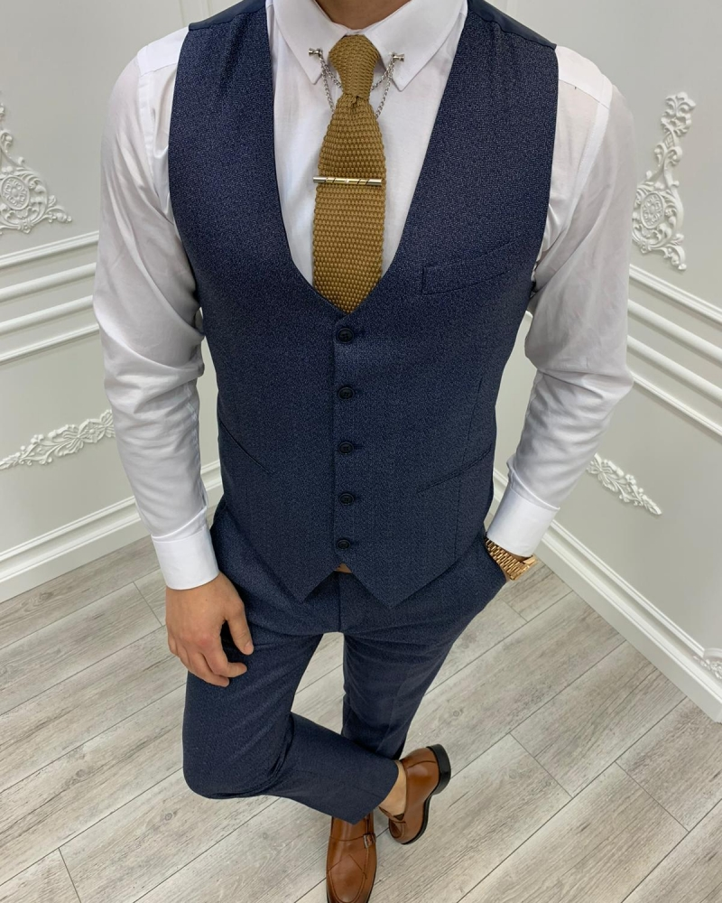 Navy Blue Slim Fit Plaid Suit by GentWith.com with Free Worldwide Shipping