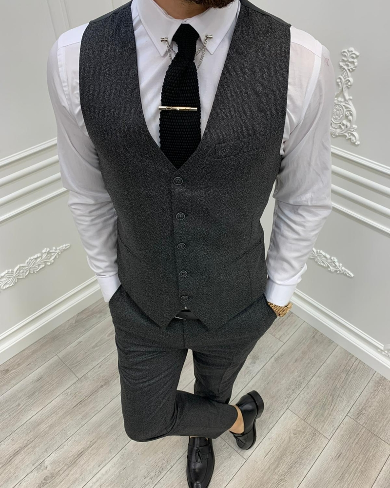 Black Slim Fit Plaid Suit by GentWith.com with Free Worldwide Shipping