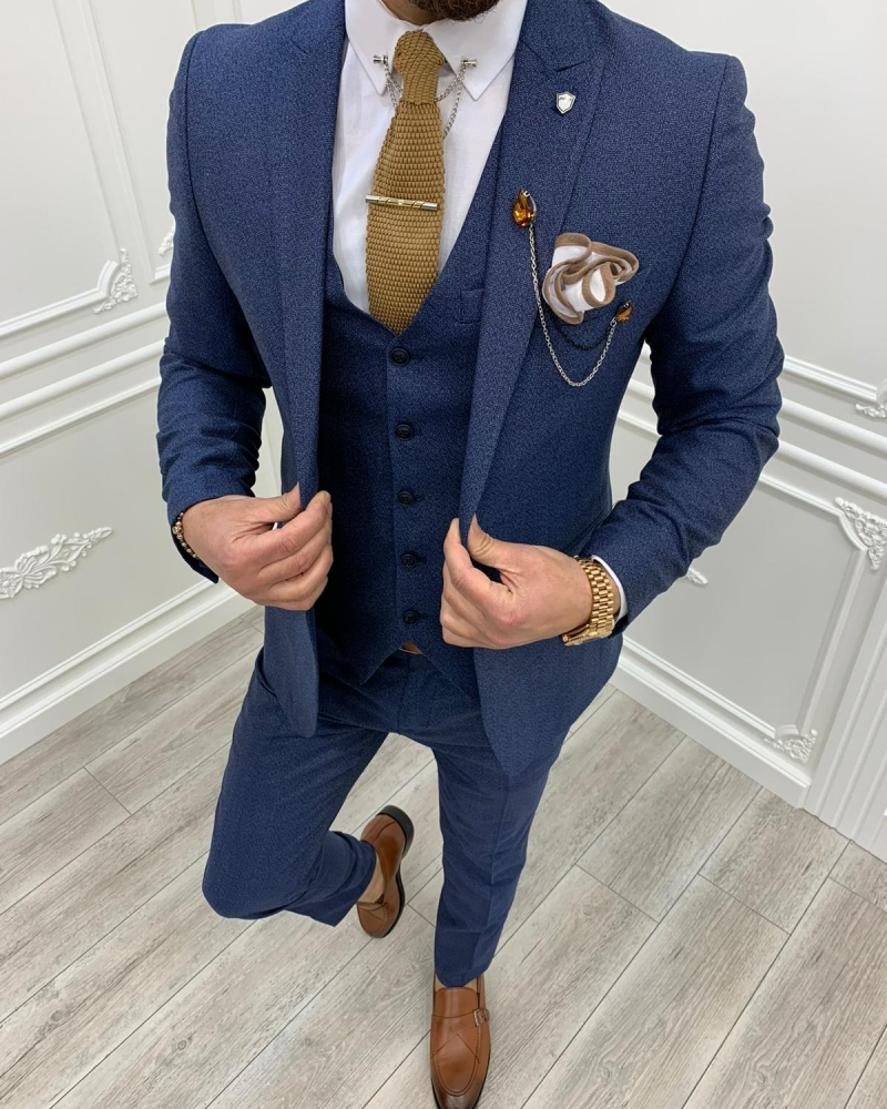 Blue Slim Fit Suit by GentWith.com with Free Worldwide Shipping