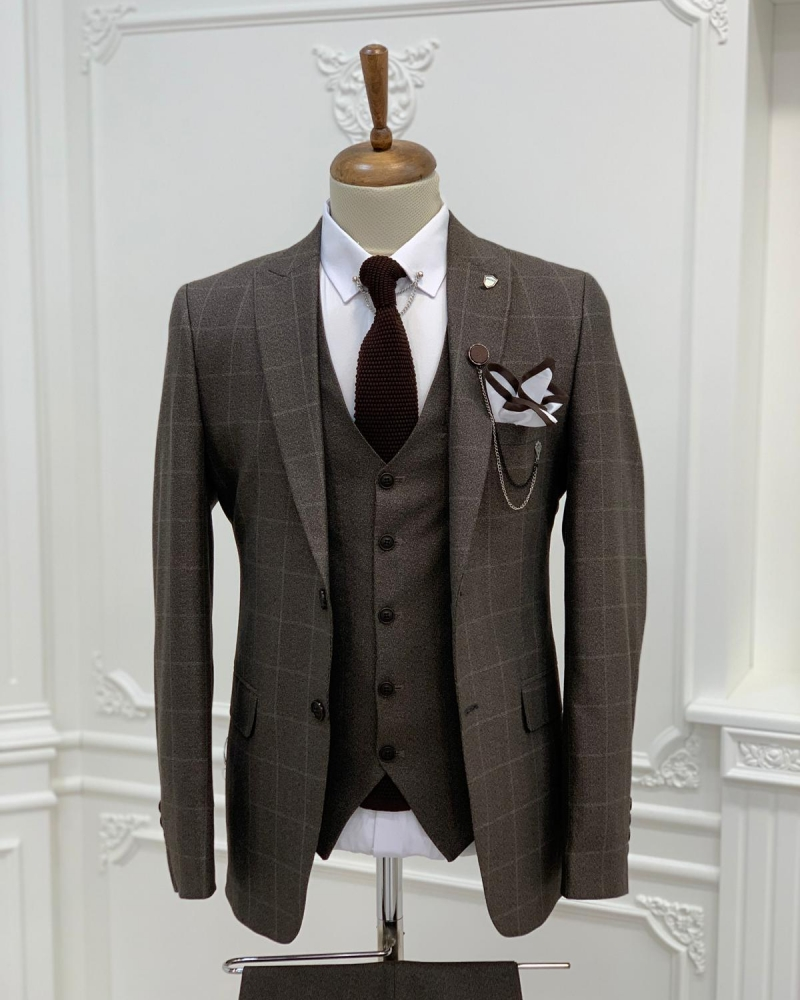 Brown Slim Fit Plaid Suit by GentWith.com with Free Worldwide Shipping
