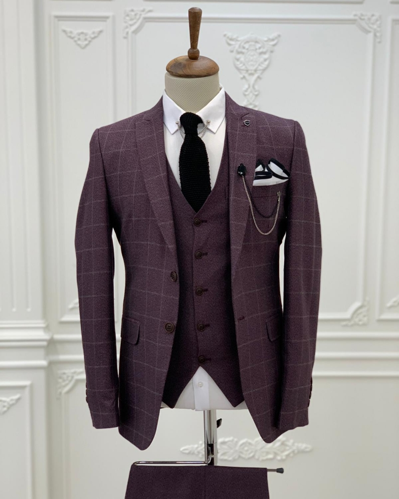 Burgundy Slim Fit Plaid Suit by GentWith.com with Free Worldwide Shipping